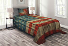 American Quilted Bedspread & Pillow Shams Set, Old National Patriotic Print