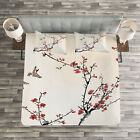 Floral Quilted Bedspread & Pillow Shams Set, Asian Style Art Birds Print