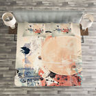 Abstract Quilted Bedspread & Pillow Shams Set, Grunge Mix Collage Print image