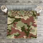 Camo Quilted Bedspread & Pillow Shams Set, Pattern in Forest Colors Print