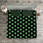 Alien Quilted Bedspread & Pillow Shams Set, Fantastic Martian Design Print image