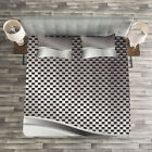Grey Quilted Bedspread & Pillow Shams Set, Industrial Grid Motif Print image