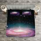 Galaxy Quilted Bedspread & Pillow Shams Set, Galaxy in Outer Space Print image