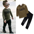 """Toddle Baby Boys Clothes """"AMEN"""" Shirt Tops+Patchwork Long Pants Kids Outfits Set"""