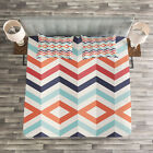 Chevron Quilted Bedspread & Pillow Shams Set, Zigzag Line...