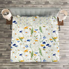 Nature Quilted Bedspread & Pillow Shams Set, Poppies Daisies Rural Print image