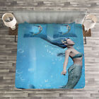 Ocean Quilted Bedspread & Pillow Shams Set, Mermaid Myth Creature Print image