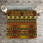 Tribal Quilted Bedspread & Pillow Shams Set, Geometric Indigenous Art Print image
