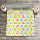 Rubber Duck Quilted Bedspread & Pillow Shams Set, Colorful Baby Art Print image