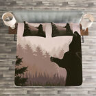 Nature Quilted Bedspread & Pillow Shams Set, Wild Bear Night Jungle Print image