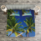 Landscape Quilted Bedspread & Pillow Shams Set, Tropic Island Palms Print image