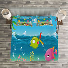 Kids Quilted Bedspread & Pillow Shams Set, Sea Animals Underwater Print image