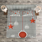 Christmas Quilted Bedspread & Pillow Shams Set, Stars Baubles Snow Print image