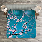 Japanese Quilted Bedspread & Pillow Shams Set, Spring Sakura Flowers Print image