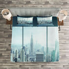 New York Quilted Bedspread & Pillow Shams Set, Urban Modern City Print image