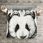 Animal Quilted Bedspread & Pillow Shams Set, Baby Panda Bear Sketch Print image