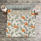 Animal Quilted Bedspread & Pillow Shams Set, Fox in the Winter Forest Print image