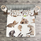 Cat Quilted Bedspread & Pillow Shams Set, Funny Playful Cats Image Print image