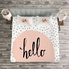 Hello Quilted Bedspread & Pillow Shams Set, Pale Pink Speech Bubble Print image