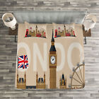 London Quilted Bedspread & Pillow Shams Set, Great Britain Landmarks Print image