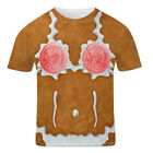 Mens Funny Christmas Rude Stag Hen Party Fancy Dress 3D Offensive Boobs T Shirt