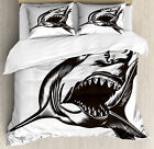 Shark Duvet Cover Set with Pillow Shams Wild Fish with Open Mouth Print