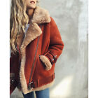 Winter Womens Suede Wool Coat Motorcycle Bike Jacket Warm Faux Fur Parka Outwear