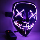 3-Modes Scary Mask Cosplay Led Costume Mask EL Wire Light Up The Purge Movie Lot