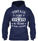 June 1976 41 Years Of Being Awesome Gildan Hoodie Sweatshirt