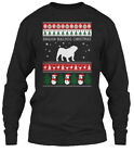 English Bulldog Dog Ugly Sweater S - Christmas Gildan Long Sleeve Tee T-Shirt