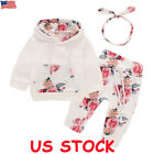 Kyпить 3PCS Newborn Toddler Baby Girl Boy Outfits Floral Clothes Hoodie Tops+Pants Set на еВаy.соm