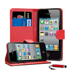 Leather Flip Wallet Case Magnetic Cover For iPhone 4 4S + Protector + Stylus