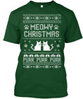 Ugly Christmas Sweater | Meowy Cat - Purr Premium Tee T-Shirt