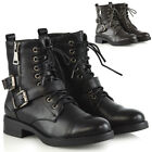 Womens Lace Up Military Ankle Boots Ladies Combat Biker Zip Up Strappy Booties