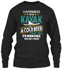Happiness Is A Kayak Cold Beer Pembroke Gildan Long Sleeve Tee T-Shirt