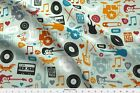 Music Rock And Roll Drum Guitar Rock Band Fabric Printed by Spoonflower BTY