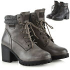 Womens Ankle Boots Lace Up Cleated Grip Sole Block Heel Ladies Zip Booties Shoes