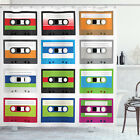 Vintage Shower Curtain Retro Cassette Collage Print for Bathroom