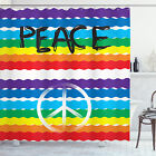 Retro Shower Curtain Stripes Peace Lettering Print for Bathroom