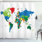 World Map Shower Curtain Colorful Political Print for Bathroom