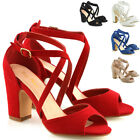 New Womens Strappy Sandals Block Mid Low Heel Ladies Party Bridal Shoes Size 3-8