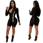 Women Letter Print Zipper Long-sleeve Casual Club Slim Short Jumpsuit Rompers