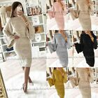 Womens Ladies Chunky Cable Knitted Co-Ord Flared Two Piece Top Skirt Dress Suit