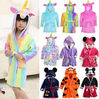 Kids Boy Girl Warm Hooded Bath Robe Mickey Unicorn Nightwear Sleepwear Pj