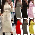 Womens Ladies Cable Knitted Pocket Long Sleeve Tie Up Midi Party Jumper Dress