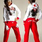 Women Mickey Mouse Tracksuit T Shirt Hoodie Sweatshirt + Pant Sets Sportswear US