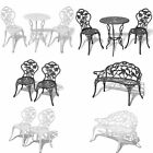 Bistro Table And Chairs Set Cast Aluminium Metal Garden Bench Patio Green/white