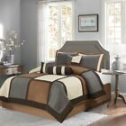 Brown & Gray & Beige Suede 7-piece Patchwork Comforter Set Winter Bedding  image