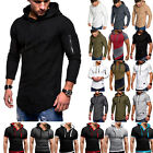 Mens Slim Fit Athletic Gym Muscle Hoodies T-shirt Tops Sports Long Sleeve Blouse image