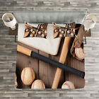 Baseball Quilted Bedspread & Pillow Shams Set, Bats Balls and Gloves Print image